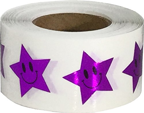 Metallic Purple Smiley Face Star Stickers, 3/4 Inch Wide, 500 Labels on a Roll (Face Smiley Purple)