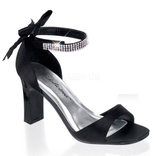 Fabulicious - Sandalias de vestir de satén para mujer negro Schwarz