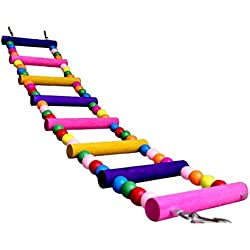 Escalera Puente de madera del juguete de la jaula con Ganchos para pajaro del loro Playtime 10 * 56 cm