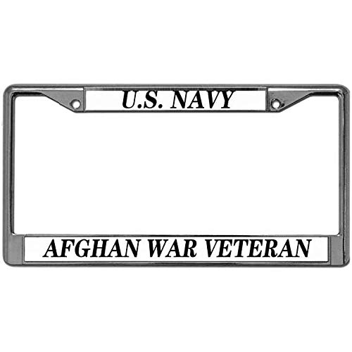 Coast Guard Afghan - Hanmen Tye US Navy Afghan War Veteran License Plate Chrome Frame Solid Metal Structure License Plate Holder US Coast Guard Aluminum Alloy Vehicle License Plate Frame Fit All Standard US