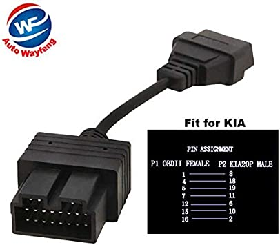 Auto Wayfeng Wf Kia 20 Pin Zu 16 Pin Obd2 Obdii Obd 2 Ii Weibliche Diagnosewerkzeug Scanner Codeleser Adapter Auto Anschlusskabel Kia 20pin Auto