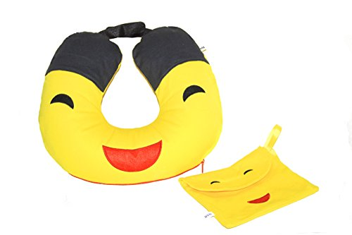 NVH-product Travel Neck Pillow with Washable Yellow Cover Emoji 13x19
