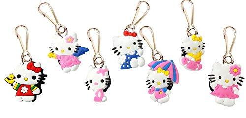 AVIRGO 7 pcs Metal Clothes And Bags Decoration Zipper Pull Keyring Carabiner Set # (Maru The Cat Costume)