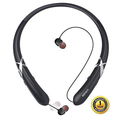 Bluetooth Headphones DolTech Retractable Earbuds Neckband Wireless Headset Sport Sweatproof Earphones with Mic(Black)