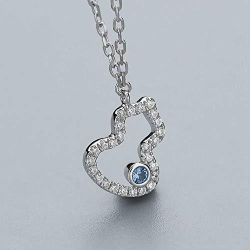 ERH Damenmode Ol Geometrie Galvanik Halskette 925 Silber Halskette Frauen Natürliche Art Deco Süße Kürbis Inlay Set Kette Wild Silber Kette Schmuck, Weiß