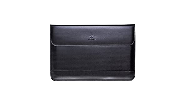 Black with Gray with or without Retina Protective Case Cover with Magnetic Snaps LENTION 13-14 Inch Split Leather Laptop Sleeve Bag for 2009-2017 MacBook Air 13 //Dell//Samsung//HP 2012-2015 MacBook Pro 13