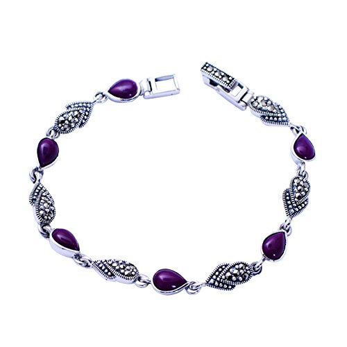 Jade Angel Thai 925 Vintage Sterling Silver Synthetic Sugilite Tennis - Thai Bracelet Silver Gemstone