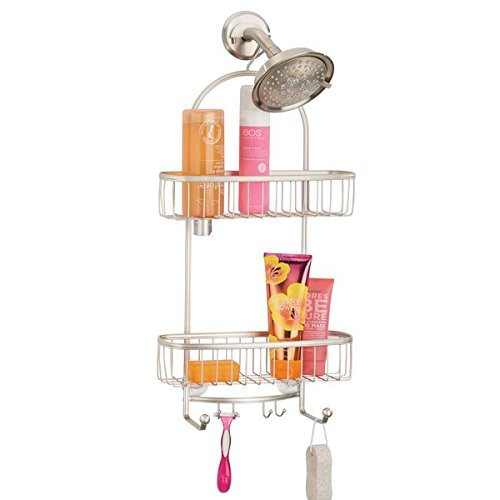 mDesign Bathroom Tub & Shower Caddy, Hanging Storage Organizer Center with 2 Built-In Hooks and Baskets for Bathroom Shower Stalls, Bathtubs - Rust Resistant Steel Wire, Satin by mDesign
