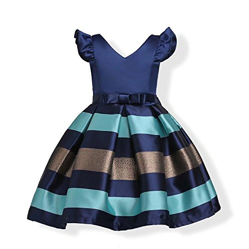 ZAH Girl Dress Kids Ruffles Lace Party Wedding Bridesmaid Dresses(Navy Blue,3-4Y)