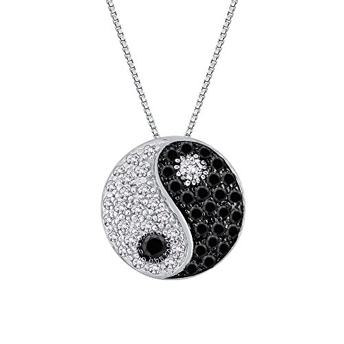 "14K White Gold 1/4 ct. Black and White Diamond ""Ying Yang"" Pendant with Chain"