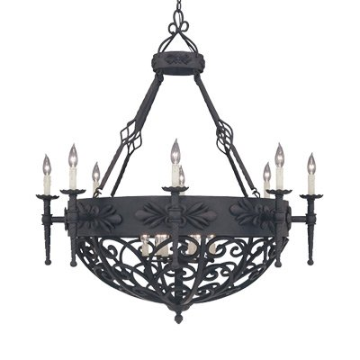 Designers Fountain 9189-NI Alhambra 14 Light Chandelier (Hanging Wrought Forged Iron Chandelier)