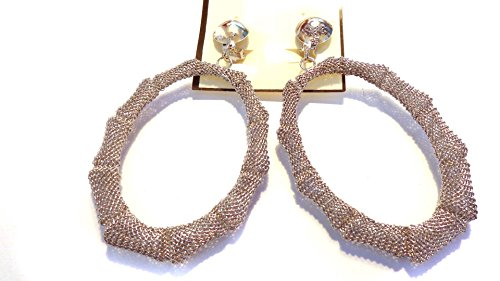 Clip-on Earrings Oval Bamboo Mesh Gold or Silver Tone Hoop Clip Earrings (silver tone)