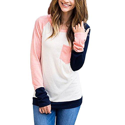 Face Juniors Tee - Teresamoon Womens Casual Long Sleeve Crewneck Color Block Pocket Sweatshirt Blouse Tops