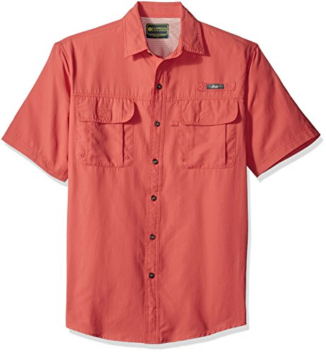 Top Field Short Sleeve - G.H. Bass & Co. Men's Explorer Point Collar Short Sleeve Fishing Shirt, Small, Deep Chrysanthemum