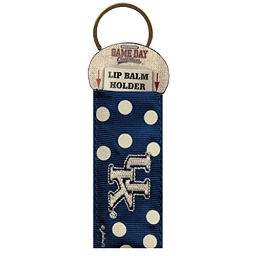University of Kentucky Wildcats Keychain/Lip Balm Holder~Blue White Polka Dots~NCAA Officially Licensed