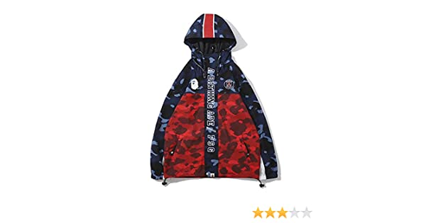 yur67 Bape co Camouflage Blue Red Windbreaker Jacket For Men/Women: Amazon.es: Ropa y accesorios