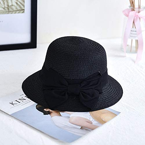 Jamicy /™ Womens Straw hat Summer Sun hat Sunscreen Beach hat Seaside Folding Fisherman hat Ladies Casual Solid Color Wide-Brimmed Bow Outdoor hat