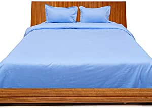 Brightlinen Light Blue Double (135 X 190 Cm) Duvet Set Fitted Sheet Solid(pocket Size: 22 Cm) 4pcs