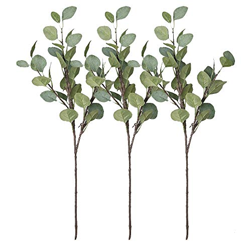 Belle Fleur Faux Eucalyptus Leaves Branches 3pcs Artificial Silk Greenery Stems Tall Plants for Wedding Home Decor (27.5 inch)