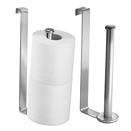 mDesign Metal Wire Over The Tank Toilet Tissue Paper Roll Holder Dispenser and Reserve for Bathroom Storage and Organization - Hanging, Each Holds 2 Rolls - 2 Pack - Chrome