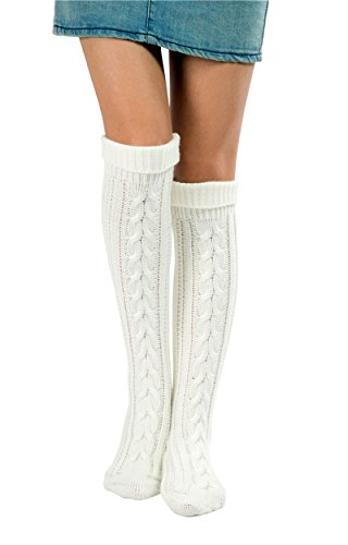 SherryDC Women's Cable Knit Long Boot Socks Over Knee High Winter Leg Warmers,White,One Size