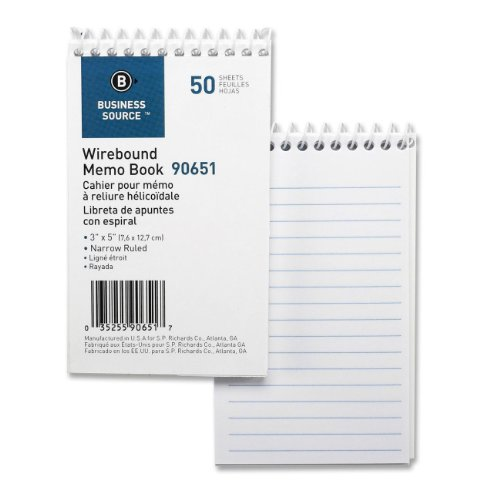 Business Source Products - Wirebound Memo Book, End Spiral, 50 Sheets, 3