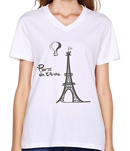 Price comparison product image Crossing Women Lady Eiffel Tower Building Text English Simple Design Fashion V-neck T Shirt M white