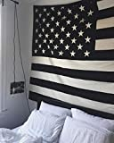 The Boho Street Exclusive 100% Cotton Black and White Vintage American Flag Tapestry, Indian Hippie Wall Hanging, Bohemian Bedspread, Mandala Cotton Dorm Decor Beach Cover up