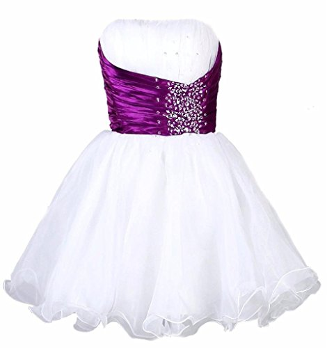 Snowskite Women's Short Strapless Beaded Organza Party Homecoming Dress White&Purple 6
