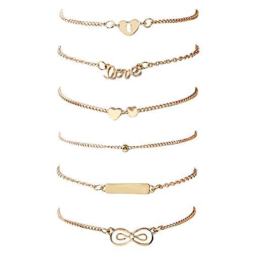 ISAACSONG.DESIGN Boho Multilayer Handmade Colorful Tassel Bead Charms Gold Bracelet Set for Women (6 pcs set) ()
