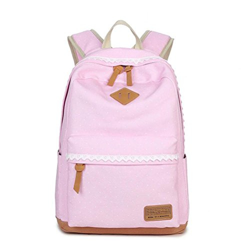 Nasis New Fashion Canvas Shoulder Bag Young Girls Handbag Ladies School Daypacks Outdoor Backpack With Polka Dot Design Multi-function Bag AL5066 (watermelon)
