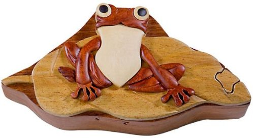 Frog on Lily Pad - Wood Puzzle Box - Handcrafted with Hidden Compartment - Display Pad Lily Frog