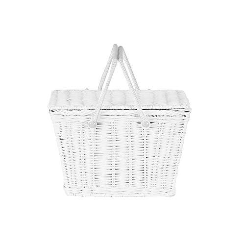 Nordic Ins Style Rattan Woven Portable Picnic Basket Multifunctional Storage Basket,White (Singapore Cheap Rattan Baskets)
