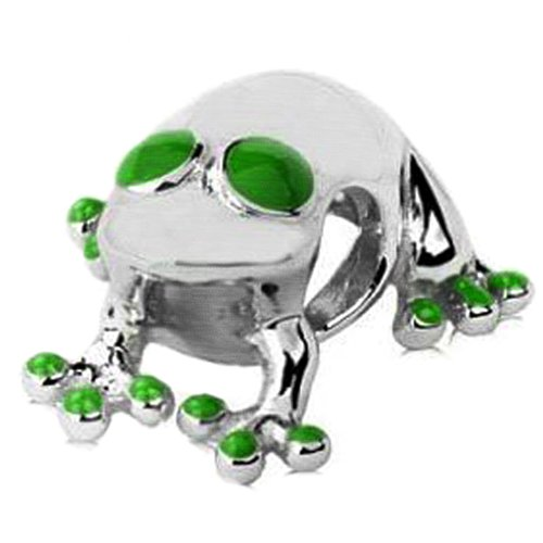 Sterling Silver Lucky Frog Bead Charm with Green Enamel Accent (Enamel Sterling Frog Silver Green)