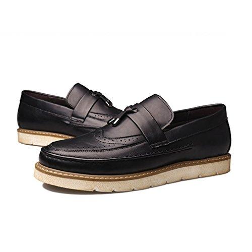 Noir Rétro avec en Microfibre Loafers Derby Loisirs Mode Brogue Frange wPnBxWzqY