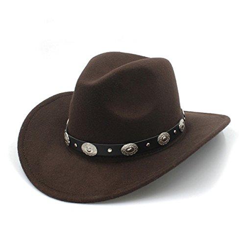 6b2d318ef050f LUCKYLIANJI Unisex Wool Felt Western Cowboy Hat For Womem Men Wide Brim  Cowgirl Coin Bead Punk Leather Band (One Size 57cm