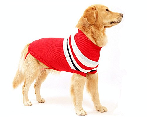 Delifur Dog Stripes Classic Sweaters Winter Warmth Dog Sweater for Large Dogs by (XL, RED) by Delifur