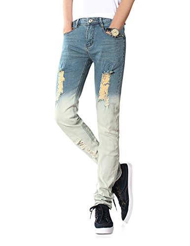 Demon&Hunter Skinny Hombre Pantalones Vaqueros Pitillos Jeans Rotos S8L68 Azul Y Blanco