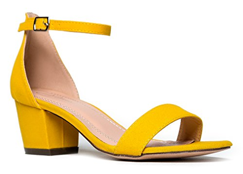 J. Adams Daisy Mid Heel Sandal Yellow 8 B(M) US ()