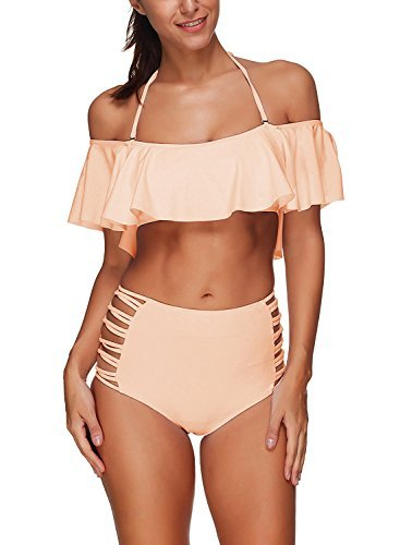 Vsecrety Two Piece Women's Halter Off the Shoulder Flounce Swimsuits High Waisted Bikini Sets(Pink,M)