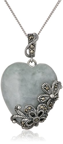 Chain Marcasite Jewelry - Sterling Silver Marcasite Green Jade Heart Curb Chain Pendant Necklace, 18