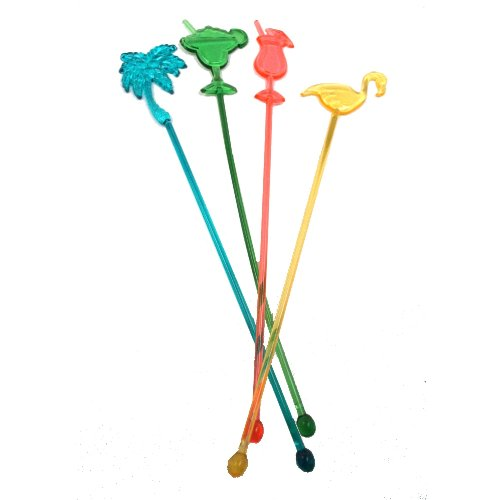 25 Assorted Tropical Luau Tiki Drink Stir Swizzle Sticks Bar - Palm Tree, Margarita, Frozen Drink Cocktail, Flamingo