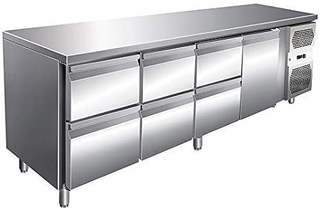 Mesa de refrigeración con 1 puerta y 6 cajones, mesa de trabajo ...