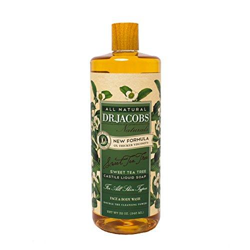 Dr. Jacobs Naturals Pure Castile Liquid Soap - Natural Face and Body Wash, Tea Tree 32 oz.