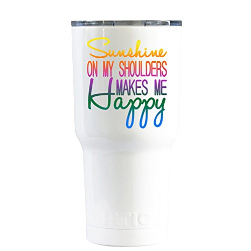 RTIC Sunshine On My Shoulders Rainbow on White 20 oz Stainless Steel Tumbler Cup for $<!--$24.94-->