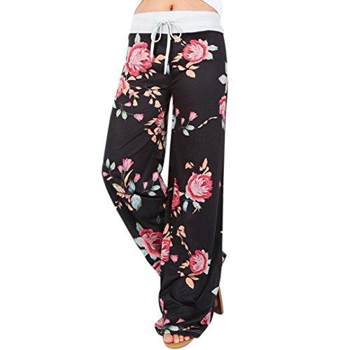 Paymenow Women Floral Prints Drawstring Loose Casual Wide Leg Pants Leggings (S, Black)