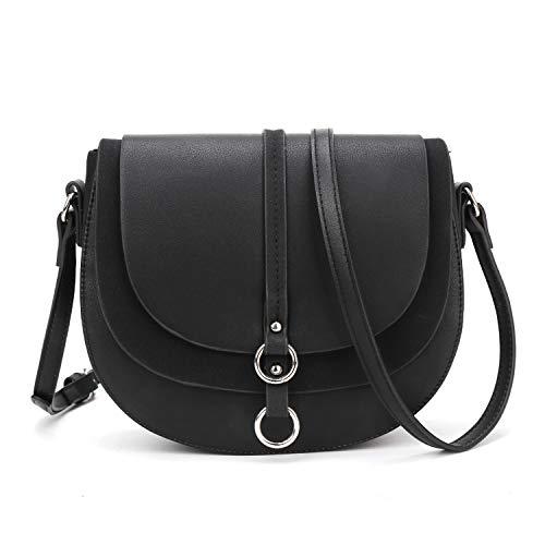 (Women Crossbody Bag Saddle Shoulder Bag Small Satchel Purse and Black Tote Handbag)
