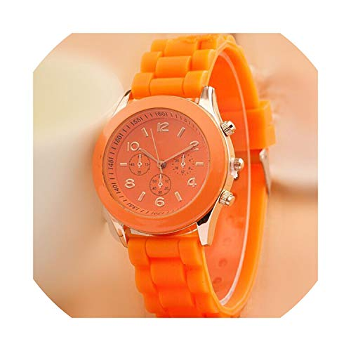 - Fashion 16 Color Quartz Women Watches Lover's Watch Classic Style Simple Casual Silica Gel Strap wristwatches Men Women's Clock,Orange