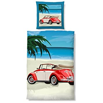 Biberna Parure De Lit Pour Volkswagen Coccinelle Decapotable Rouge