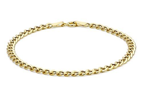 """Jewellery World Bague en or jaune 9carats Plat creux bracelet gourmette 18cm/7"""""""